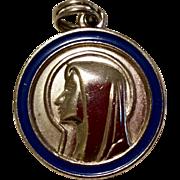 Vintage Silver Tone Metal Blue Enamel Virgin Mary Medal