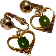 Vintage 12 K Gold Filled Heart Shaped Faux Jade Sarah Coventry Dangle Clip Earrings