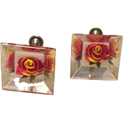 Vintage Clear Lucite Earrings With Reverse Carved Red Rose