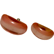 Vintage Lucite Orange Sherbert Screw Back Earrings