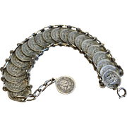Vintage Silver Tone Metal Italian Coin Bracelet