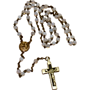 Early Faceted Pale White Bead Brass & Silver Catholic Rosary Scapular Center Medal