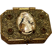 VIntage Gold Tone Metal Catholic Rosary Box