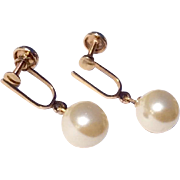 Vintage 12 K Gold Filled Faux Pearl Screw Back Earrings