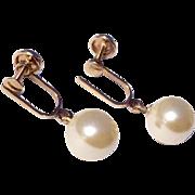 Vintage 12 K Gold Filled Faux Pearl Screw Back Earrings