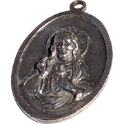 Scapular Silver Tone Metal Jesus Sacred Heart & Our Lady Of Mt. Carmel