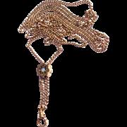 Vintage Estate Gold Filled Long Watch Chain & Slide