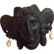 Fabulous Antique Victorian Hand Carved Whitby Jet Greek Goddess Psyche 14 K Good Fresh Water Pearl Brooch