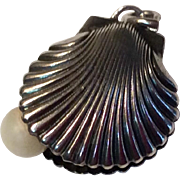 Vintage Sterling Silver Oyster Shell Charm With Faux Pearl