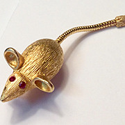 Darling Small Book Piece Mouse Brooch With Flexible Tail