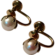 Vintage 12 K Gold Filled Cultured Pearl Screw Back Earrings