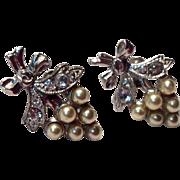 Vintage Sterling Silver Costume Clear Rhinestone Faux Pearl Screw Back Earrings