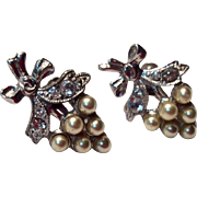 Vintage Sterling Silver Costume Clear Rhinestone Faux Pearl Screw Back Earrings