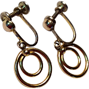 Vintage Gold Filled Screw Back Dangle Earrings