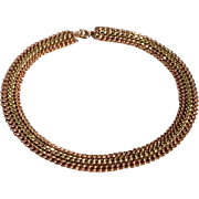 Vintage Tri Color 12 K Gold Filled Collar Necklace