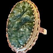 Vintage 14 K Gold Natural Untreated Carved Jade Ring