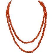 "Vintage Natural Salmon Coral Long 49"" Necklace"