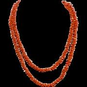 "Vintage Natural Salmon Coral Long 49"" Necklace"