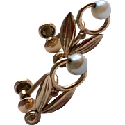 Vintage Van Dell 12 K Gold Filled Cultured Pearl Screw Back Earrings