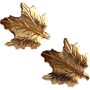 Vintage Silver Gilt Maple Leaf Clip Earrings