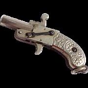 Wonderful Vintage Silver Tone Metal Mechanical Pistol Watch Fob
