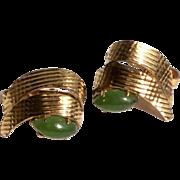 Vintage Natural  Jade Gold Filled Clip Earrings