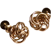 Vintage 12 K Gold Filled Love Knot Screw Back Earrings