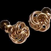 Vintage 12 K Gold Filled Love Knot Screw Back Earrings