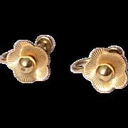 Vintage Van Dell 12 K Gold Filled Screw Back Earrings