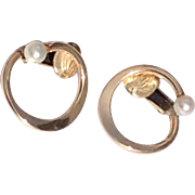 Vintage 12 K Gold Filled Cultured Pearl Clip Earrings