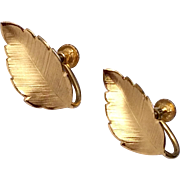 Vintage 12 K Gold Filled Leaf Motif Screw Back Earrings