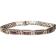 Art Deco Sterling Silver Amethyst Glass Filigreed Bracelet
