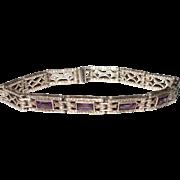 Art Deco Sterling Silver Amethyst Glass Filigreed Bracelet