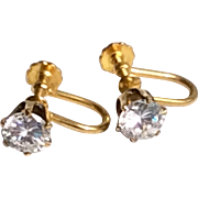 Vintage 12 K Gold Filled Sparkling Screw Back Earrings