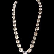 "Vintage Art Deco Pools Of Light 30"" Graduated Oval Rock Crystal Necklace"