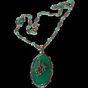 Vintage Art Deco Green Agate Sterling Silver Marcasite Pendant Necklace