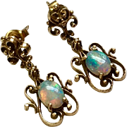 Beautiful Vintage 14 K Gold Siberia Brothers Natural Fiery Opal Dangle  Earrings
