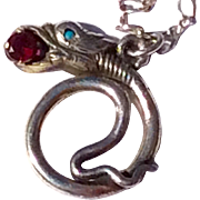 Vintage Sterling Silver Serpent Snake Pendant Necklace