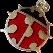 Vintage Sterling Silver Enamel Lady Bug Charm