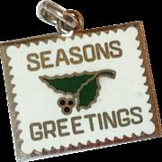 Vintage Sterling Silver Enamel Wells Seasons Greetings Charm