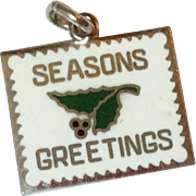 Vintage Sterling Silver Enamel Wells Seasons Greetings Charm