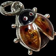 Vintage Sterling Silver Beau Enamel Lady Bug Charm