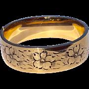 Vintage 12 K Gold Filled Black Tracey Enamel Wide Hinged Bangle Bracelet