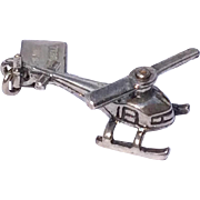 Vintage Sterling Silver 3 D Mechanical Helicopter Charm