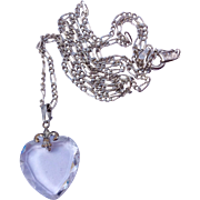 Vintage Crystal Heart Pendant With Sterling Silver Fleur D Lis & Sterling Silver Chain