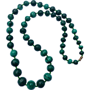 "Vintage 24 "" Malachite Bead Necklace"