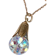 Vintage 14 K Gold Filled Captive Floating Aurora Borealis Pendant Necklace