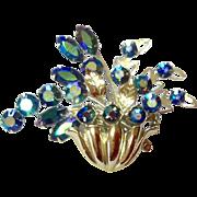Vintage Blue AB Rhinestone Floral Brooch
