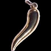 Vintage Gold Plate Italian Horn Pendant