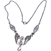 Vintage Sterling Silver  Rhinestone Espo Flex Necklace
